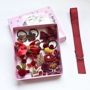 Set of Girls hair clips in the gift box 17 pcs.